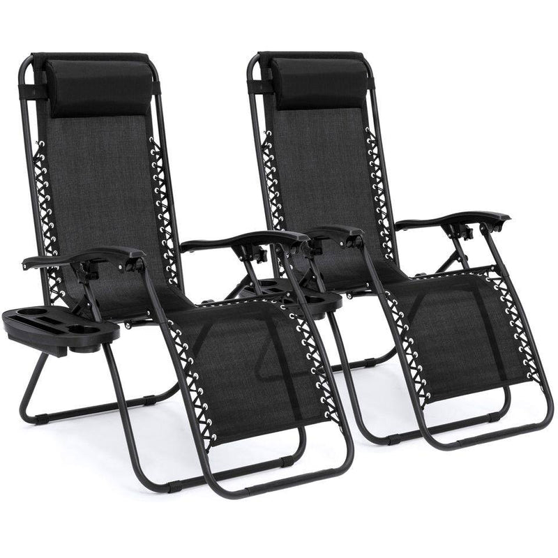 Set Of 2 Adjustable Zero Gravity Lounge Chair Recliners For Patio, Pool W/ Cup Holders - Black