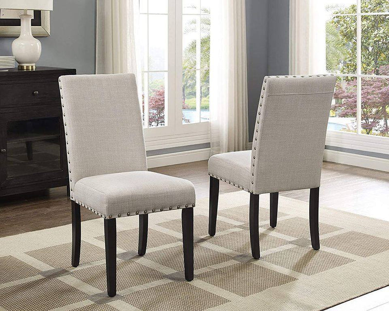 Dining Chairs with Nailhead Trim, Set of 2, Tan color