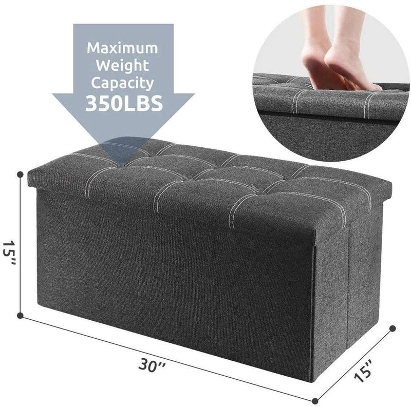 30 inches Storage Ottoman Bench, Foldable Footrest Shoe Bench with 80L Storage Space
