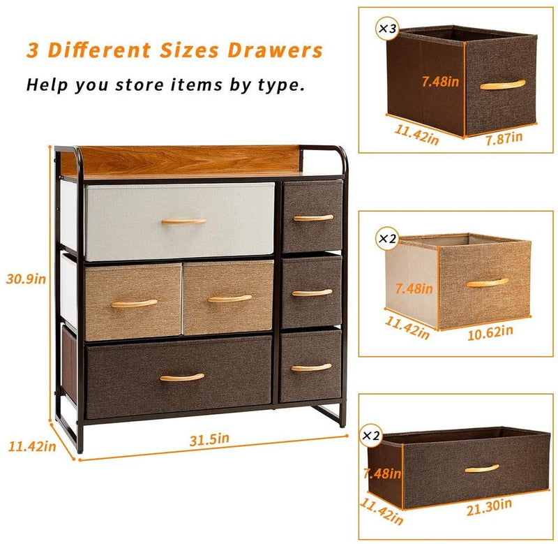 7-Drawer Dresser, 3-Tier Storage Organizer Tower Unit for Bedroom/Hallway/Entryway/Closets - Sturdy Steel Frame, Wooden Top, Removable Fabric Bins