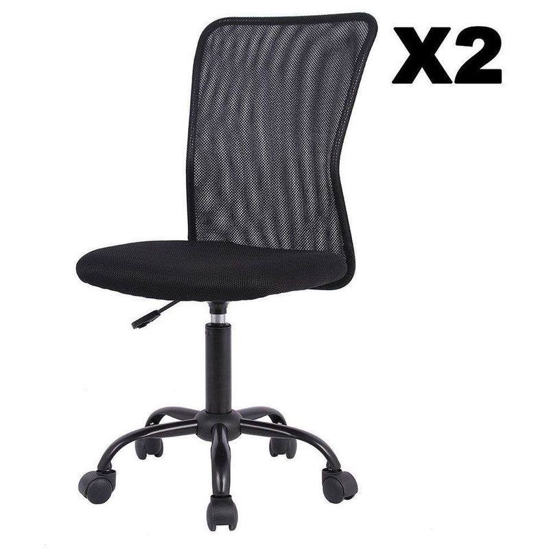 Set Of 2 Mesh Office Chair Computer Mid-Back Task Swivel Seat Ergonomic Chair