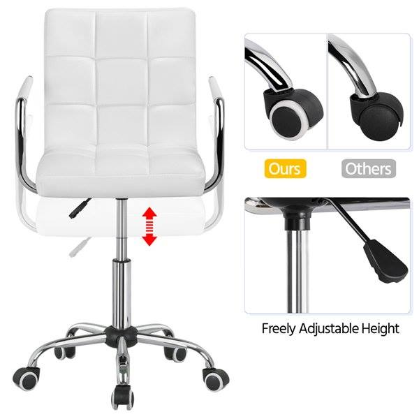 Modern Leather Swivel Executive Office Chair, White