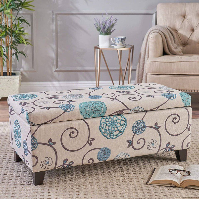 Home Breanna Fabric Storage Ottoman, White And Blue Floral