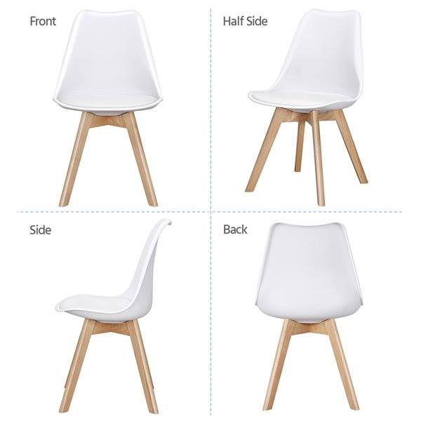Mid-Century Modern Padded Dining Chairs, Set of 4, White