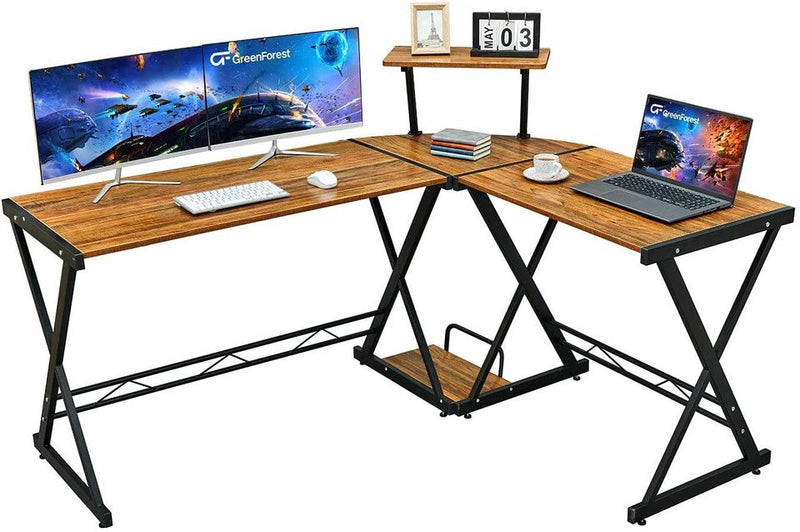 "L Shaped Desk 58"" Reversible Corner Computer Desk with Movable Shelf and CPU Stand, Gaming Desk"