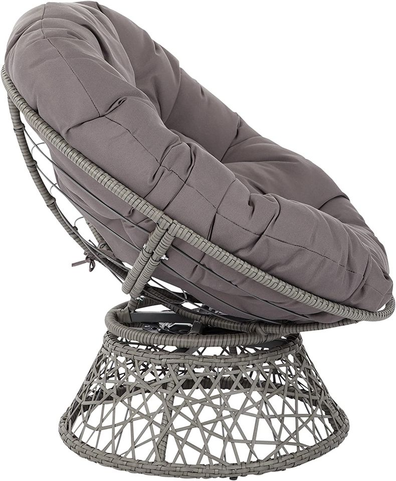 Papasan Chair with 360-degree Swivel, Grey Cushion Frame