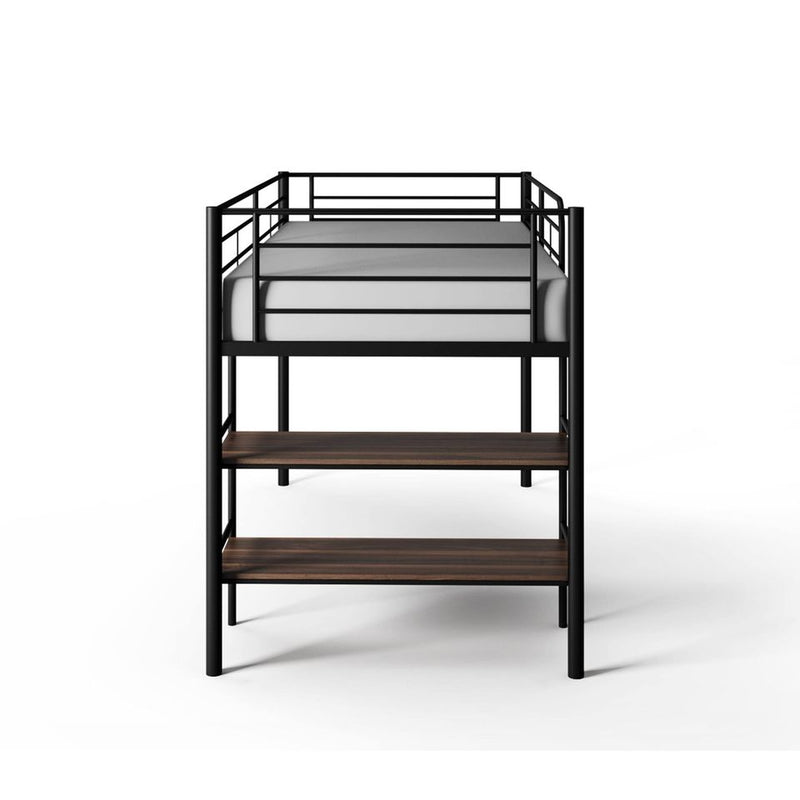 Beckett Kids Metal Twin Loft Bed with Open Book Shelf