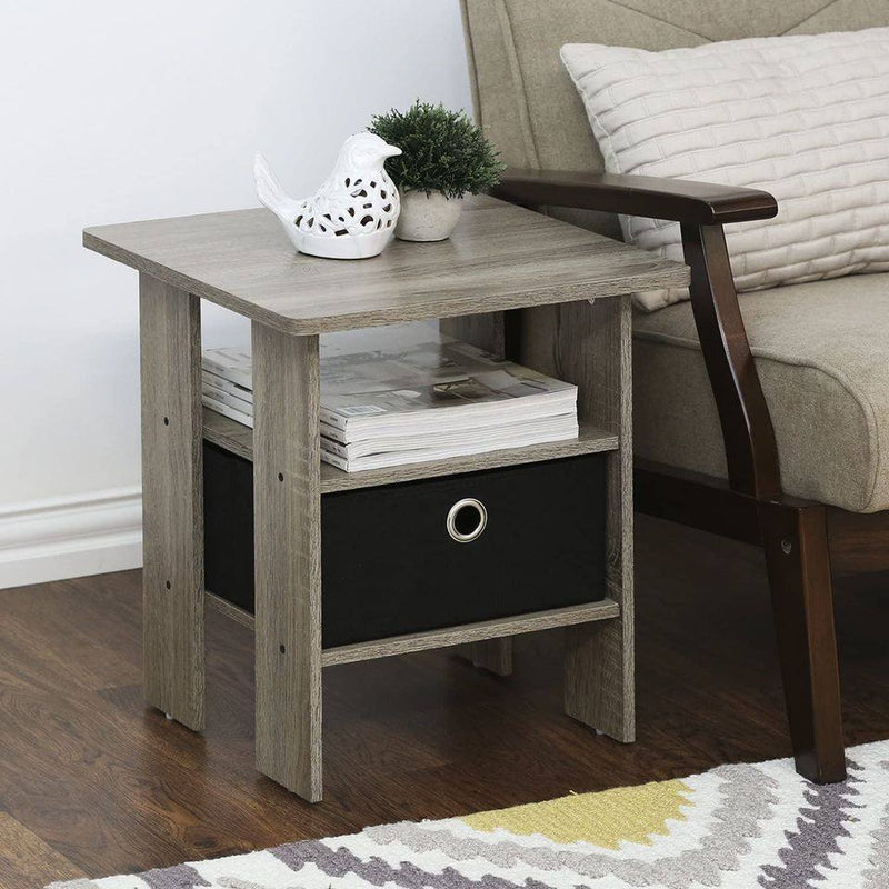 Andrey End Table Nightstand Set, 2-Pack, French Oak Grey