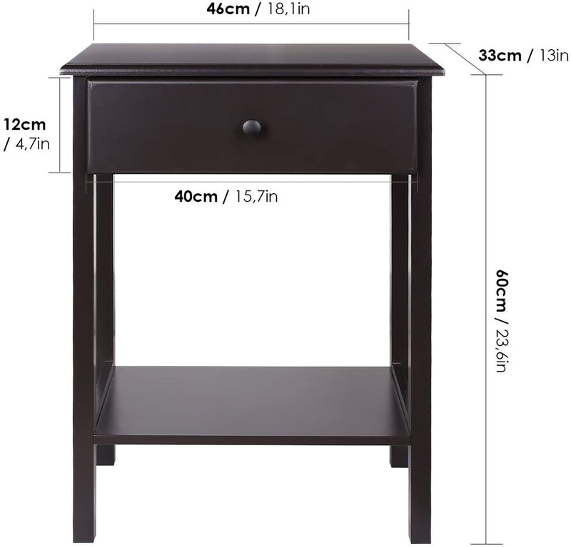 Night Stand End Table Wooden Bedside Table with Drawer and Storage Shelf, Dark Brown