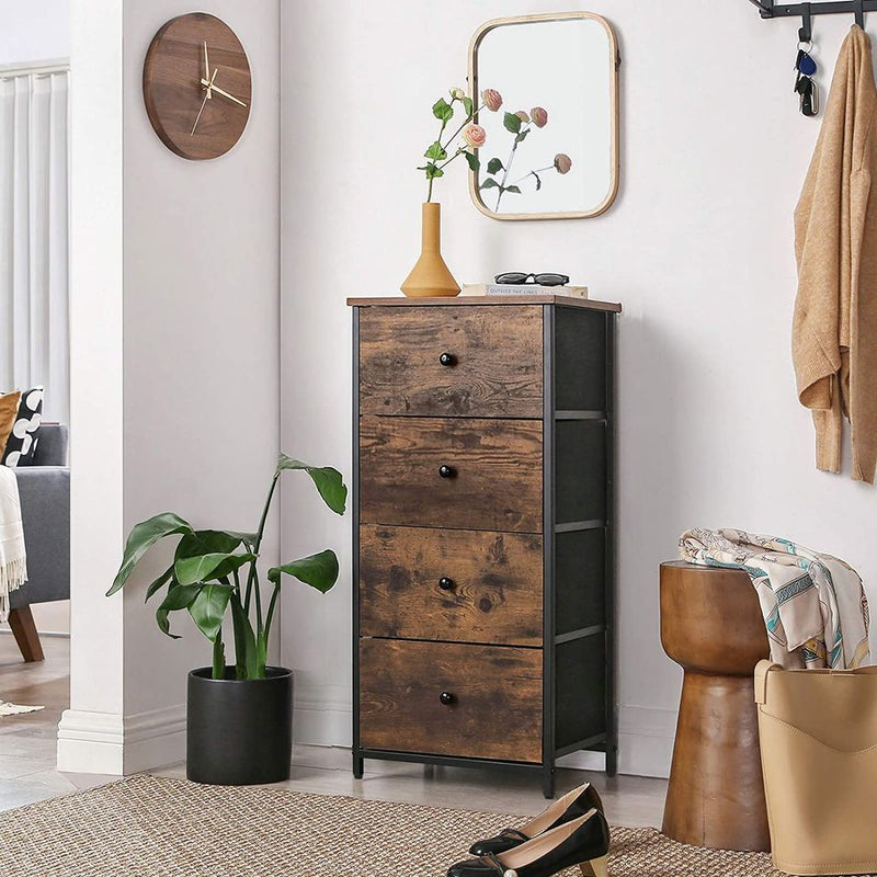 Rustic Vertical Dresser Tower, Industrial Drawer Dresser with 4 Drawers, Wooden Top and Front
