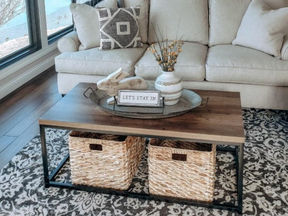 44in Modern Industrial Style Rectangular Wood Grain Top Coffee Table