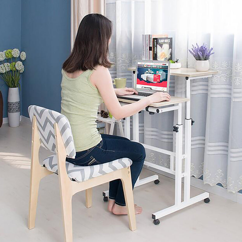 Multipurpose Home Office Computer Desk, Mobile Sit and Stand Desk, Workstation Desk, White