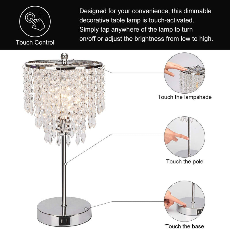 Touch Control Crystal Table Lamp with Dual USB Charging Ports, 3-Way Dimmable Touch Lamp Nightstand