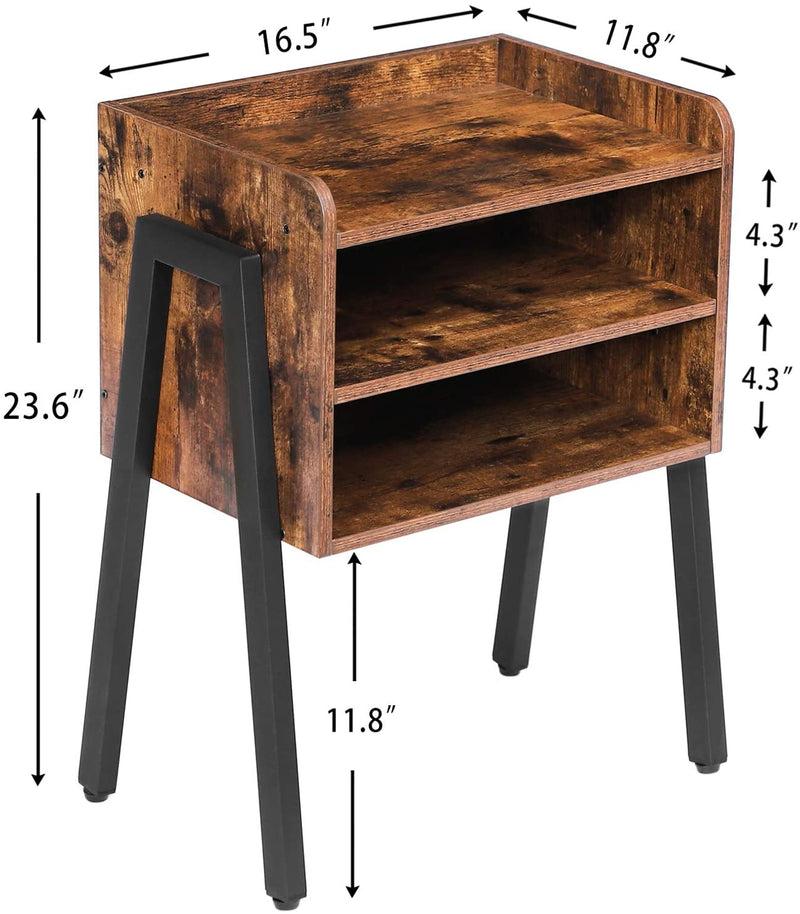 Stackable Nightstand, 3 Tier Side Table Front Storage Compartments Metal Frame, Rustic Brown