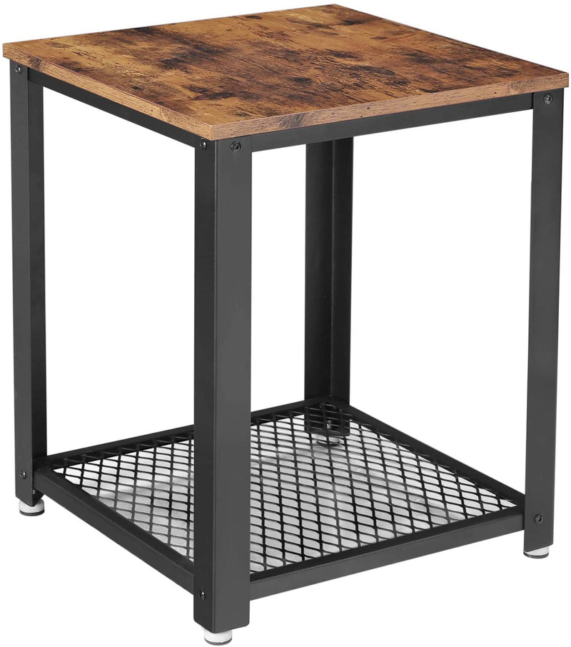 Industrial End Table, 2-Tier Side Table with Storage Shelf, Sturdy, Easy Assembly, Wood Look Accent Furniture, with Metal Frame, Rustic Brown