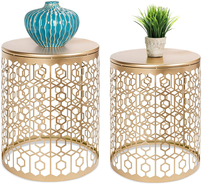 Set of 2 Decorative Round Accent Side Coffee End Table Nightstands, Hexagon & Diamond Patterns
