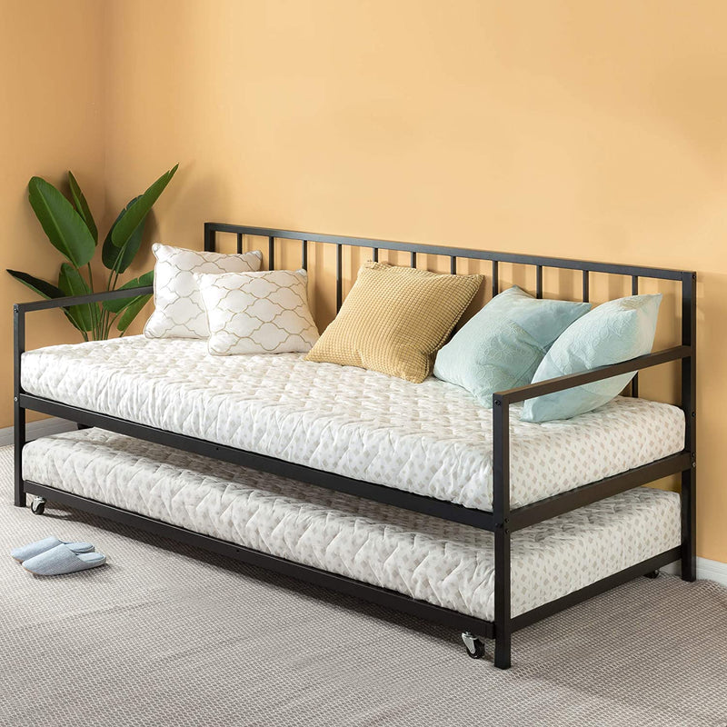 Twin Daybed and Trundle Set / Premium Steel Slat Support / Daybed and Roll Out Trundle
