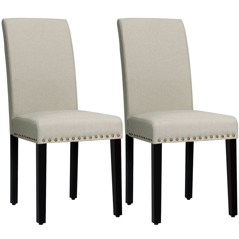 Set of 2 Fabric Dining Chairs Upholstered with Nailhead Trim
