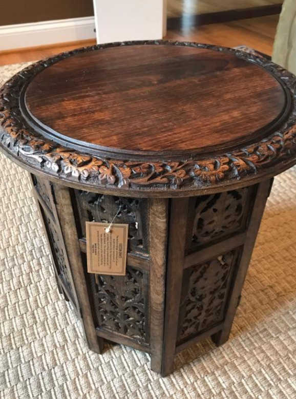 Jaipur Solid Wood Hand Carved Accent Coffee Table - 18 Inch Round Top x 18 Inch High