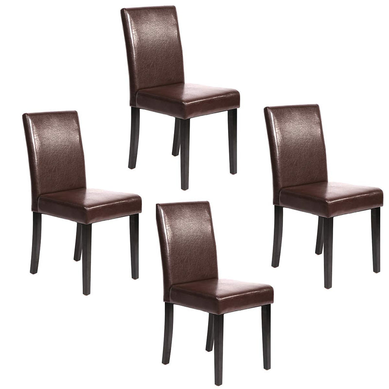 Set of 4 Brown Leather Contemporary Elegant Design Dining Chairs Home Room