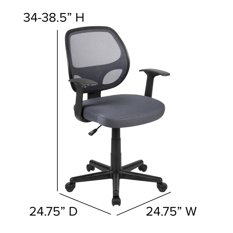 Fundamentals Mid-Back Gray Mesh Swivel Ergonomic Task Office Chair with Arms, Gray
