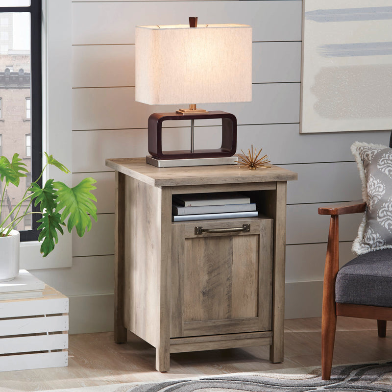 Modern Farmhouse Side Table with USB, Rustic Gray Finish