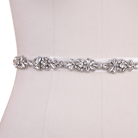 Vintage Crystal Design Bridal Belt on ivory ribbon