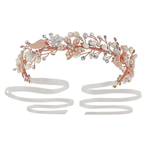 Aphrodite Rose Gold Crystal & Pearl Headdress Hair Piece
