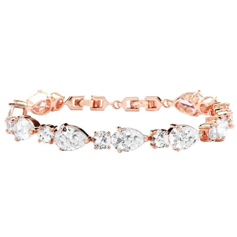 Rose Gold Crystal Bracelet. Single Row. Clasp Fastening