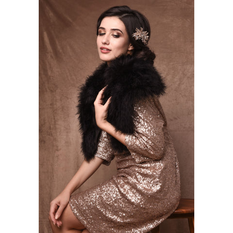Bethan Black Marabou Feather Shrug