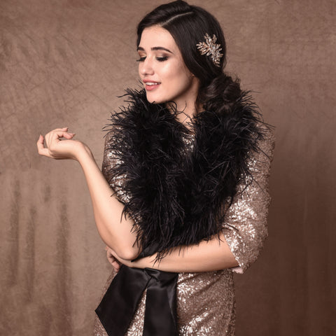 Betsy Black Ostrich Feather Shrug