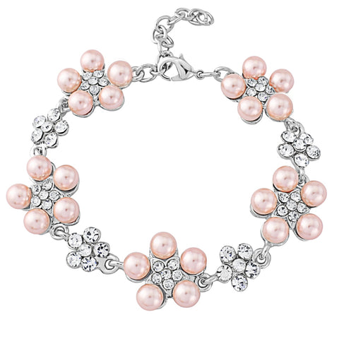 Crystal and pearl bracelet daisy bracelet made with blush pearls and clear crystals, width 2cm.