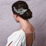 large Silver and crystal floral spray hair accessory in silver