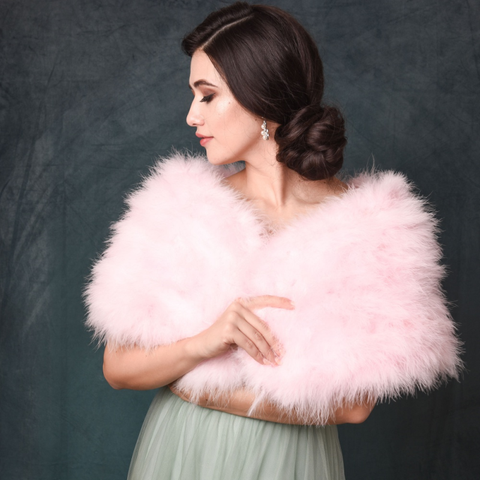 Baby Pink Marabou Feather Wrap over a wedding dress