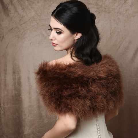 Back view of bride wearing a cocoa brown marabou feather stole wrap acroos her shoulders