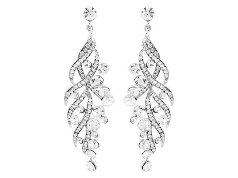 Crystal drop earrings made from luxury clear crystals on a silver tone finish, they have a drop of 7.5cm.