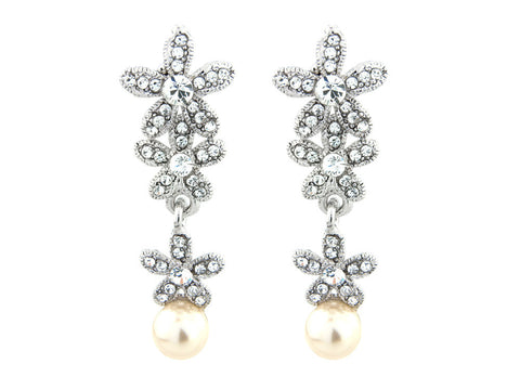 Crystal and pearl earrings in a pretty floral design, made from clear crystals and simulated ivory pearls, they have a drop of 4.5cm.