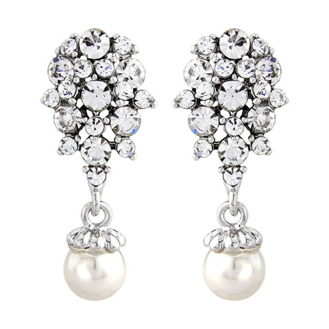 Raina Crystal and Pearl Earrings