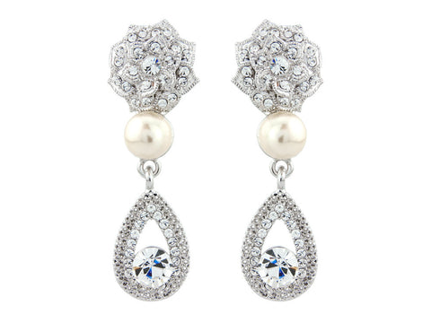 Tamara Crystal and Pearl Earrings