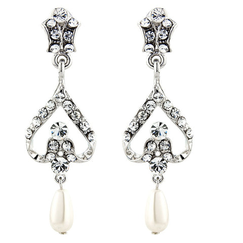 Crystal and pearl chandelier earrings made from high quality cubic zirconia clear crystals on a silver tone finish with ivory pearls, they have a drop of 3.5cm
