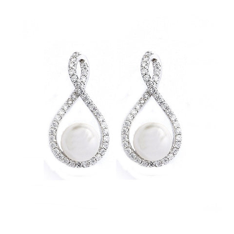 Taryn Crystal and Pearl Earrings - Available in Silver & Rose Gold