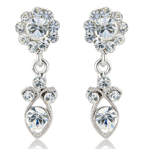 Crystal earrings made with clear Swarovski and cubic zirconia elements, they have a drop of 3.5cm