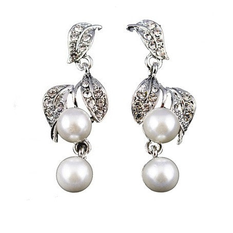 Tyra Crystal and Pearl Drop Earrings
