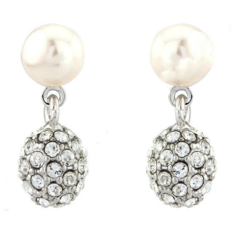 Veronica Crystal and Pearl Drop Earrings