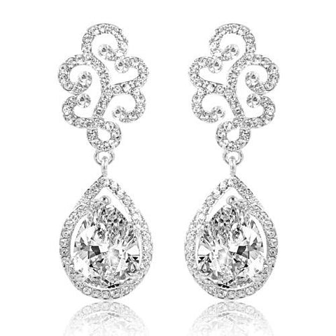 High quality clear crystal earrings on a rhodium plated finish, earrings have a drop of 5cm.