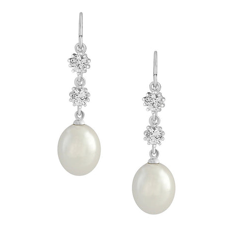 Crystal and pearl earrings made from cubic zirconia clear crystals with a beautiful tear trop pearl, they have a 4cm drop.