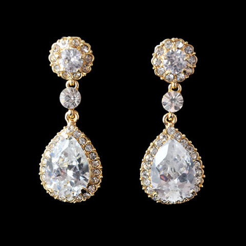 Crystal tear drop earrings made from clear crystals on a gold tone finish, they have a drop of 6.5cm.