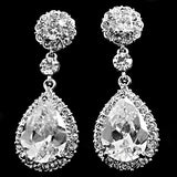 Crystal tear drop earrings made from clear crystals on a silver tone finish, they have a drop of 6.5cm.