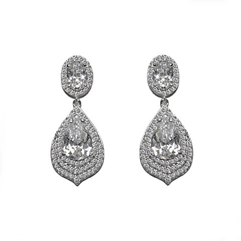Crystal tear drop earrings made from high quality clear cubic zirconia crystals on a rhodium plated silver tone finish, they have a drop of 6cm.