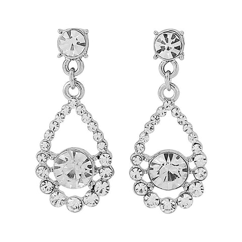 Crystal chandelier drop earrings made from luxury clear crystals on a silver tone finish, they have a drop of 3.5cm.